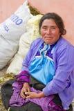 传统裙子和女衬衫的玛雅妇女 免版税库存照片