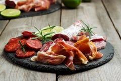 传统西班牙塔帕纤维布或意大利开胃小菜 库存照片