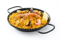 传统西班牙海鲜肉菜饭,被隔绝 免版税库存图片