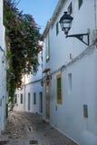传统西班牙狭窄的街道 免版税库存照片