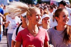 22传统许多马拉松在基辅告诉了Chestnut Run 两美国兵 免版税库存图片