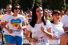 22传统许多马拉松在基辅告诉了Chestnut Run Uniden 免版税库存照片