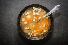 传统豆食物希腊的汤 免版税图库摄影
