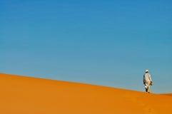 传统巴巴里人穿戴的人在沙漠 免版税库存照片