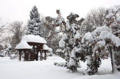 传统门在冬天 免版税库存照片