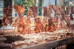 传统阿根廷asado烤了羊羔烤肉 库存图片