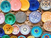 传统陶瓷瓦器在摩洛哥 库存图片