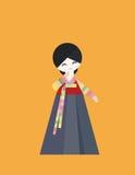 传统韩国布料的妇女 免版税库存照片