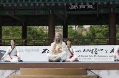 传统韩国武术表现和经验事件显示 免版税图库摄影