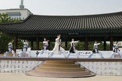 传统韩国武术表现和经验事件显示 库存照片