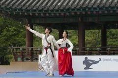 传统韩国武术表现和经验事件显示 图库摄影