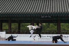 传统韩国武术表现和经验事件显示 免版税库存图片