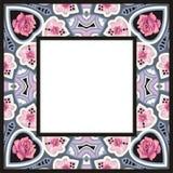 传统风格五颜六色的佩兹利玫瑰班丹纳花绸框架 免版税库存图片