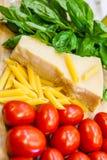 从传统食物的意大利旗子 库存照片