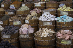 传统香料义卖市场用草本和香料在阿斯旺,埃及 库存照片