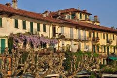 传统马焦雷湖建筑学,意大利。 库存照片
