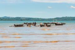 传统马达加斯加人的小船-独木舟,非洲,马达加斯加 库存照片