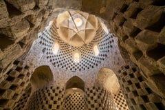 传统鸽子房子的内部亚兹德省的,伊朗 库存图片