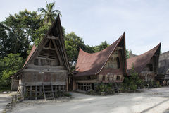 传统Batak房子,多巴湖,苏门答腊 库存照片