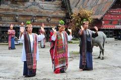 传统Batak舞蹈家在Toba湖 库存图片