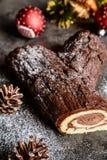 传统Christmas Buche de Noel蛋糕 免版税库存图片