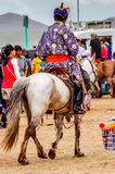 传统deel的, Nadaam跑马,蒙古御马者 免版税库存图片