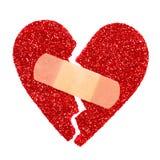 伤心 闪烁被剥去的心脏固定与黏着性绷带 库存照片