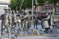 伦布兰特纪念碑细节  免版税库存图片