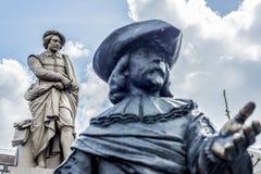伦布兰特雕象在阿姆斯特丹,荷兰 免版税图库摄影