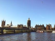 伦敦、英国-议会议院的看法,大本钟和威斯敏斯特宫 免版税库存图片