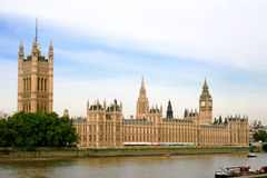 伦敦全景议会威斯敏斯特 免版税图库摄影