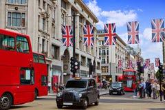 伦敦公共汽车牛津街W1威斯敏斯特 免版税库存照片