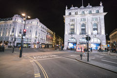 伦敦卡迪里街角-广角射击伦敦,英国-英国- 2016年2月22日 免版税图库摄影