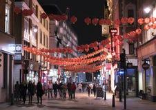 伦敦唐人街在夜伦敦英国之前 免版税库存照片