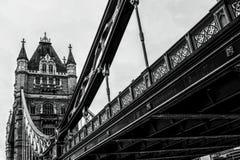 伦敦在黑白的塔桥梁 免版税库存照片