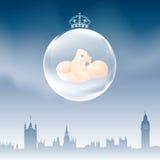 伦敦地平线â与婴孩的圣诞节电灯泡 免版税图库摄影