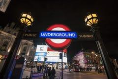 伦敦地铁驻地皮卡迪利广场伦敦,英国-英国- 2016年2月22日 免版税图库摄影