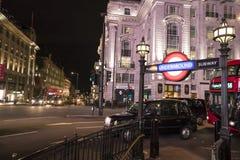 伦敦地铁驻地皮卡迪利广场伦敦,英国-英国- 2016年2月22日 库存照片