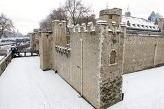 伦敦塔雪的,伦敦,英国 图库摄影