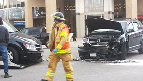 伦敦安大略,加拿大- 2016年5月03日:消防队员反应a 库存图片