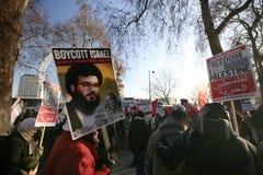 伦敦巴勒斯坦抗议者暴乱 免版税图库摄影
