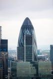伦敦市全景嫩黄瓜大厦 免版税库存照片