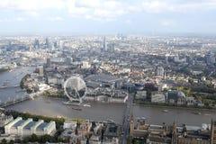 伦敦市地平线视图从上面 免版税库存图片