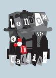 伦敦市拼贴画,大笨钟,塔桥梁 免版税库存照片