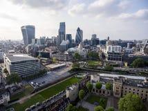 伦敦市财政区天线 库存照片