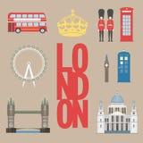 伦敦旅游信息图表 导航例证、大本钟、眼睛、塔桥梁和双层公共汽车,岗亭,圣Pauls 库存图片