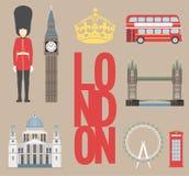 伦敦旅游信息图表 导航例证、大本钟、眼睛、塔桥梁和双层公共汽车,岗亭,圣Pauls 免版税库存照片