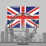 伦敦旗子英国弗累斯大转轮休闲地标和大厦 库存图片