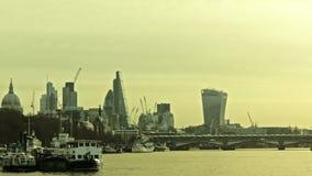 伦敦早晨,泰晤士,橙色天空 影视素材