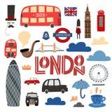 伦敦标志手拉的集合 摊、公共汽车、塔桥梁,伦敦眼睛等 皇族释放例证